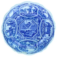 19th Century English Copeland Spode Blue & White Equestrian & Fox Hunting Plate