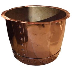 19th Century English Copper Log Bucket