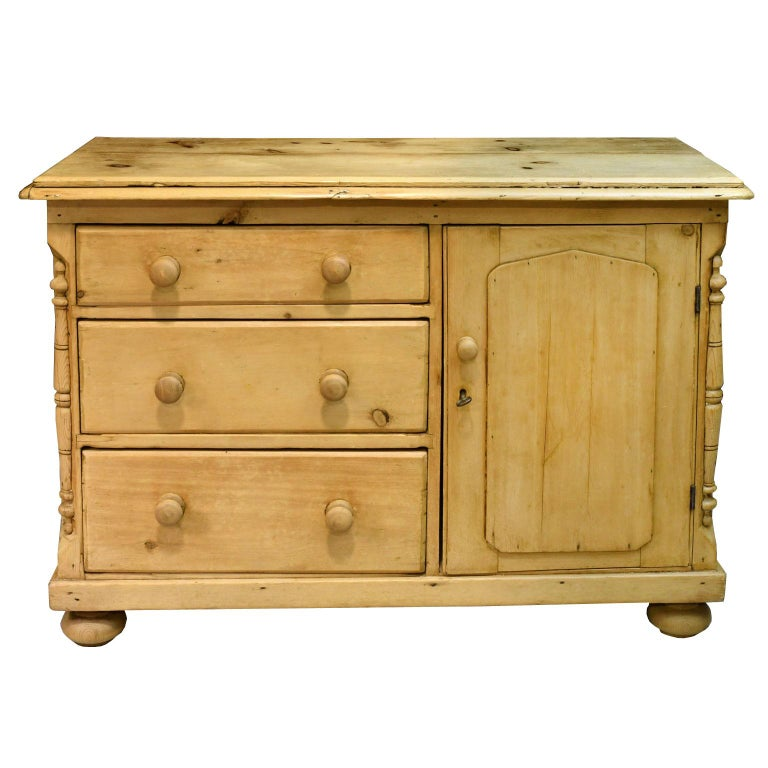 19th Century English Country Pine Dresser With Flight Of