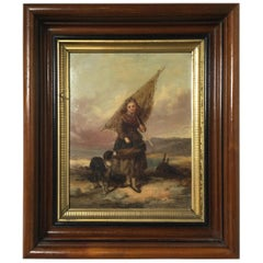 19th Century English Country Scene Oil Painting in Walnut Frame