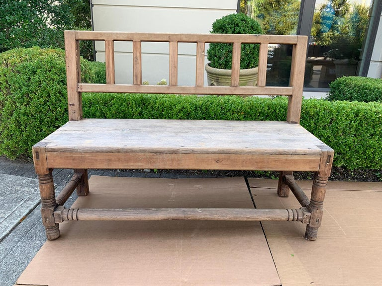 Prime 19Th Century English Country Scrubbed Oak Bench With Back Ibusinesslaw Wood Chair Design Ideas Ibusinesslaworg