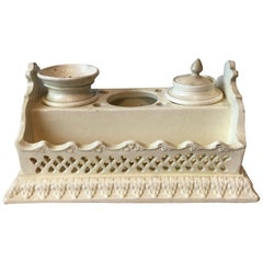 19th Century English Creamware Inkstand