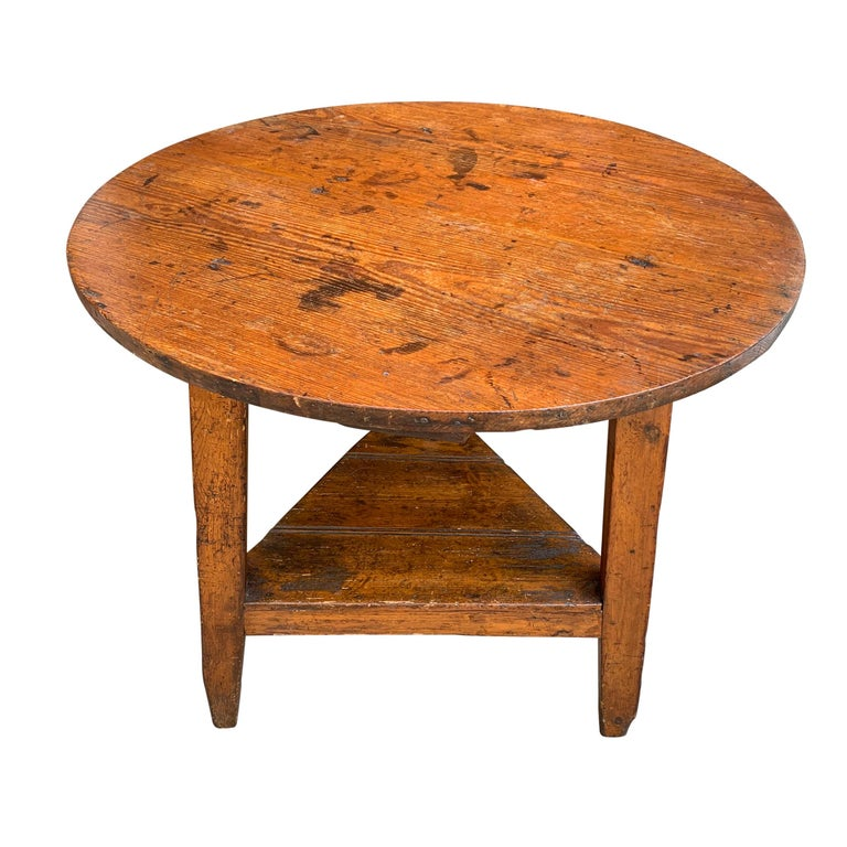 Country 19th Century English Cricket Table with Shelf For Sale