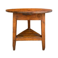 19th Century English Cricket Table with Shelf