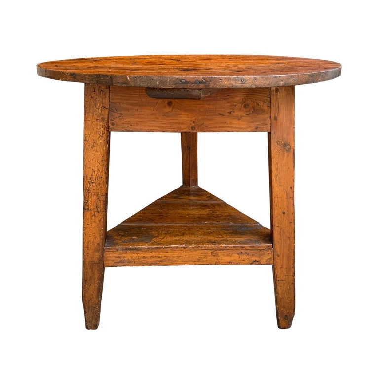 19th Century English Cricket Table with Shelf For Sale