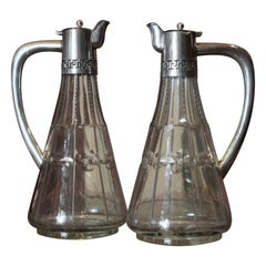 19th Century English Cut Glass and Sterling Silver Oil and Vinegar Cruet Set