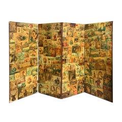 19th Century English Decalcomania Four-Panel Screen