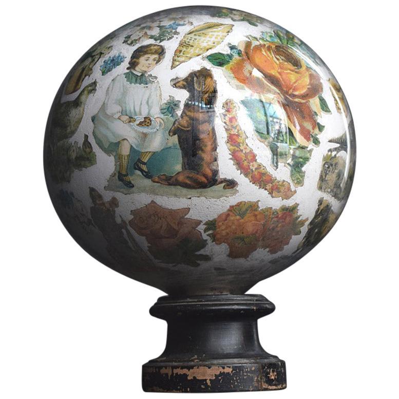 19th Century English Decalcomania Globe