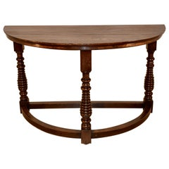19th Century English Demilune Table