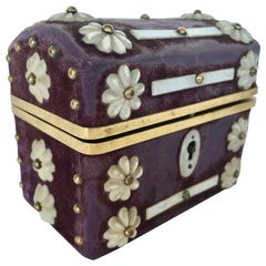 19th Century English Dore' Mounted Travel Casket with 2 Scent Bottles