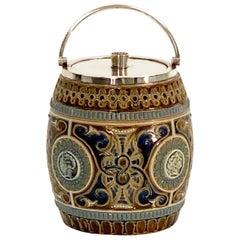 19th Century English Doulton Lambeth Biscuit Barrel