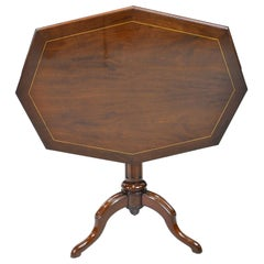 19th Century English Elongated Octagonal Tripod Tilt Top Table in Mahogany