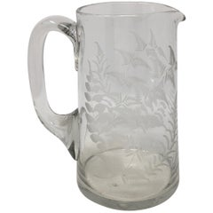 19th Century English Etched Glass Pitcher