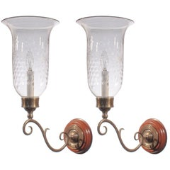 19th Century English Etched Hurricane Shade Wall Sconces