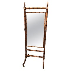 19th Century English Faux Bamboo Cheval Mirror