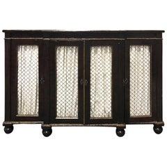 19th Century English Faux Bois Gilt Regency Four-Door Cabinet