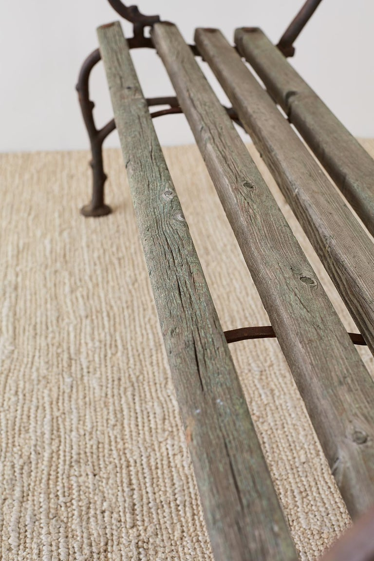19th Century English Faux Bois Iron Wood Garden Bench For Sale 9