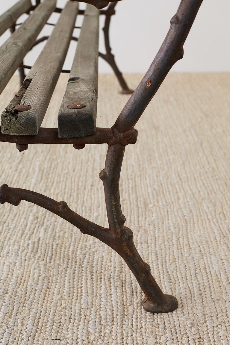 19th Century English Faux Bois Iron Wood Garden Bench For Sale 10