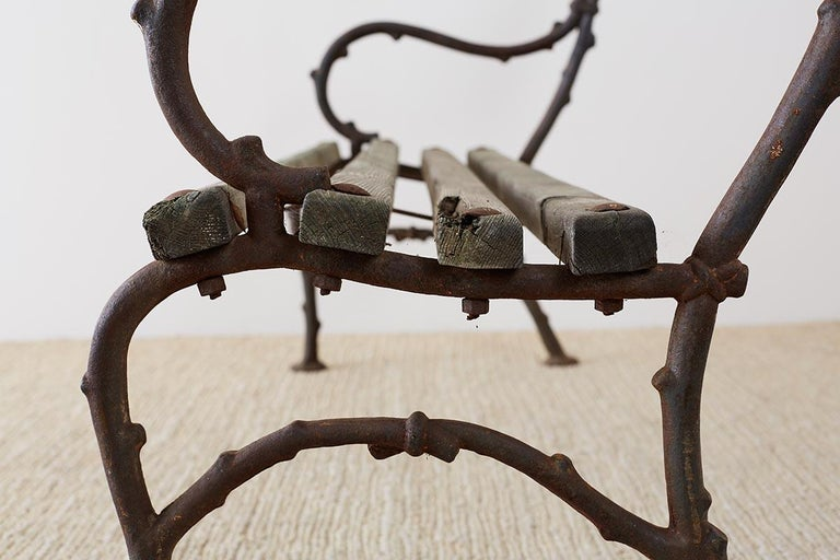 19th Century English Faux Bois Iron Wood Garden Bench For Sale 11