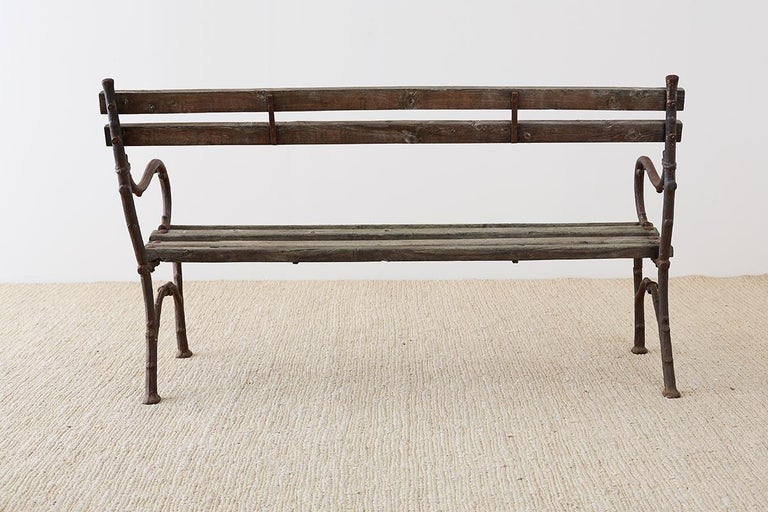 19th Century English Faux Bois Iron Wood Garden Bench For Sale 12