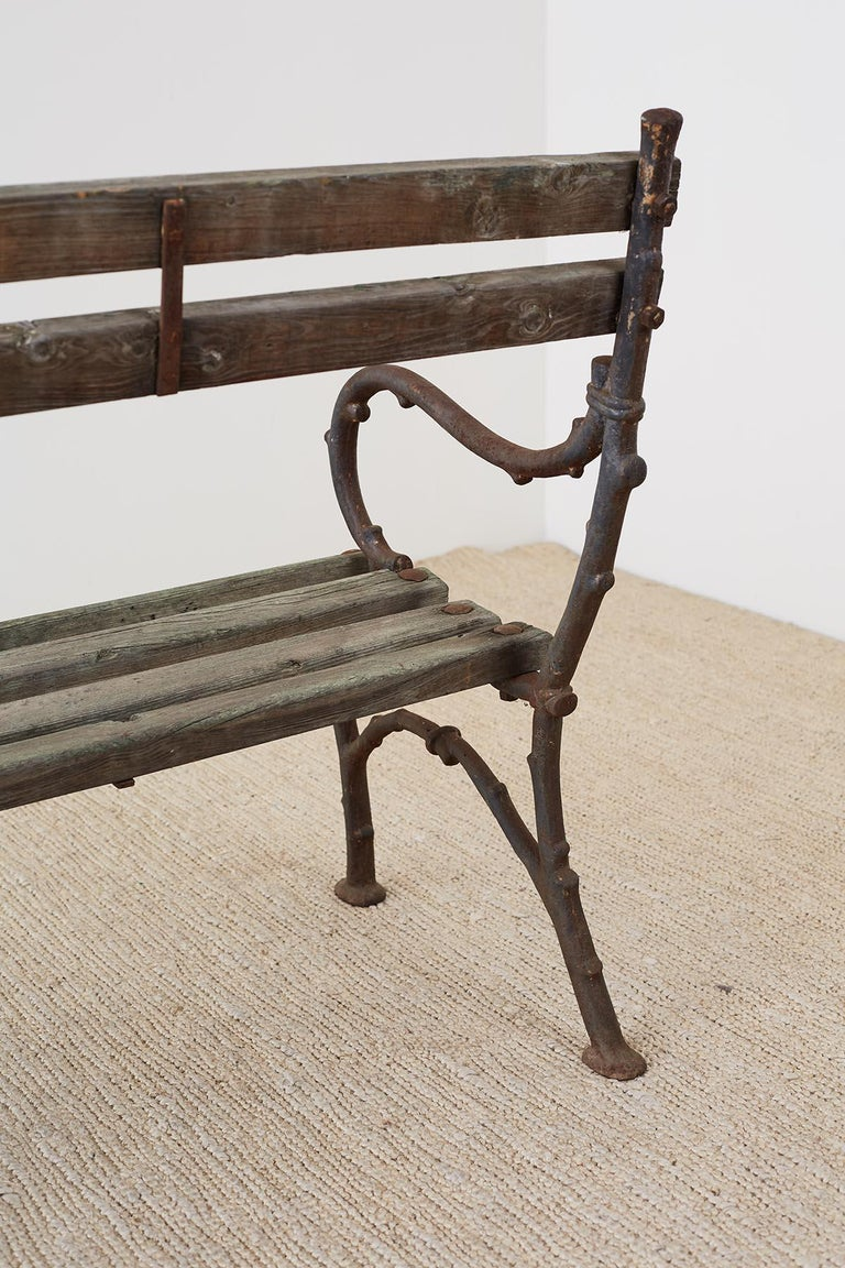 19th Century English Faux Bois Iron Wood Garden Bench For Sale 13