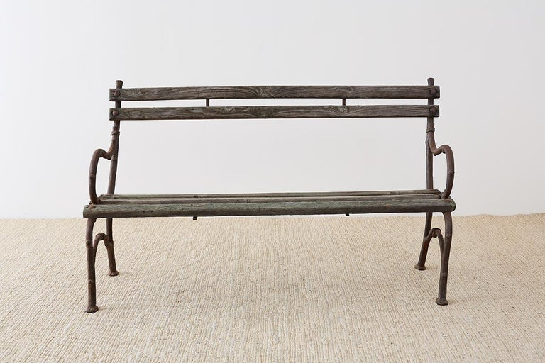 Victorian 19th Century English Faux Bois Iron Wood Garden Bench For Sale