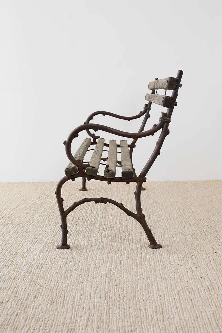 19th Century English Faux Bois Iron Wood Garden Bench For Sale 1