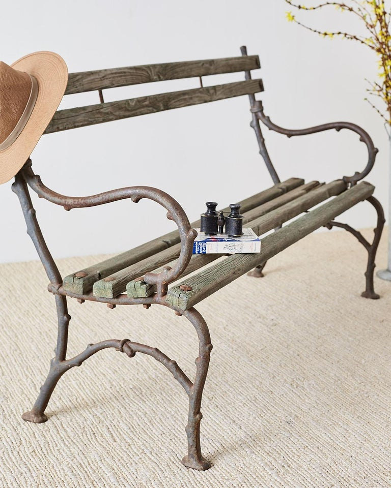 19th Century English Faux Bois Iron Wood Garden Bench For Sale 3