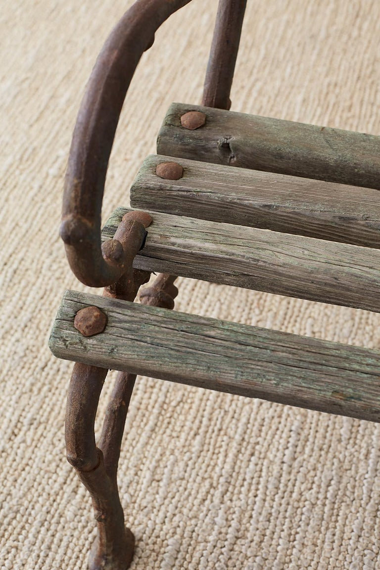 19th Century English Faux Bois Iron Wood Garden Bench For Sale 4