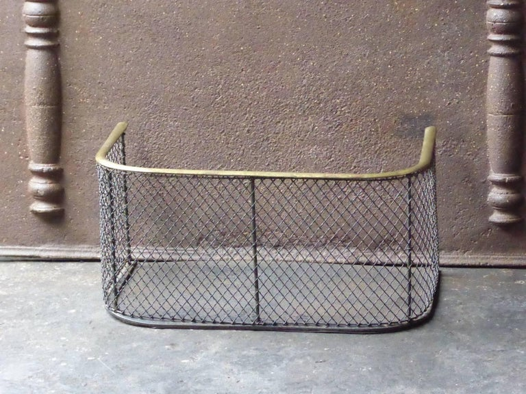 19th century English nursery fireguard - fireplace guard made of brass, iron and iron mesh.  We have a unique and specialized collection of antique and used fireplace accessories consisting of more than 1000 listings at 1stdibs. Amongst others, we
