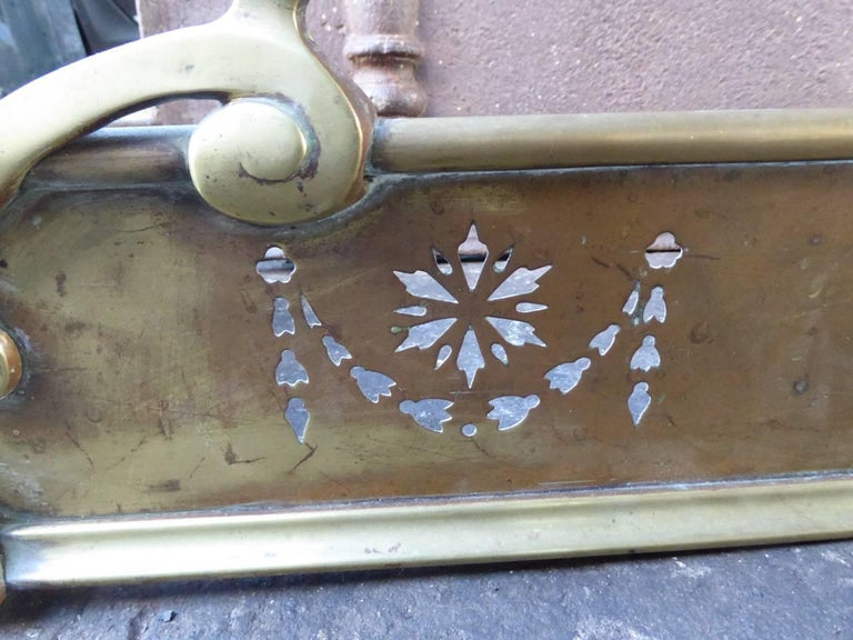 Brass 19th Century English Fireplace Fender For Sale