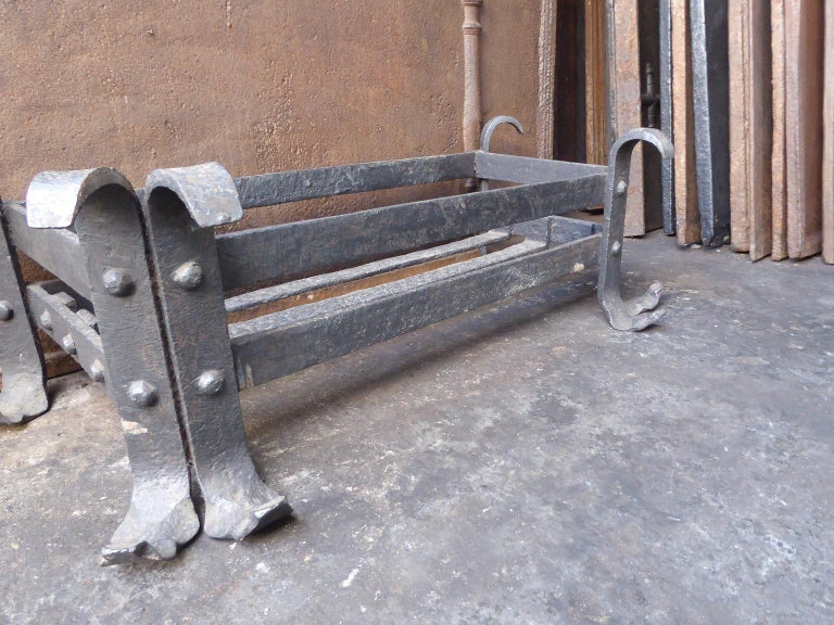 Wrought Iron 19th Century English Fireplace Grate or Fire Grate For Sale