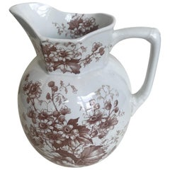 19th Century English Floral Ironstone Pitcher