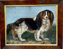 19th century English folk art portrait of a King Charles Cavalier Spaniel dog