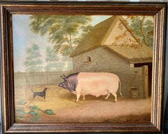 19th Century English Folk art, Prize Pig and terrier in a landscape with barn