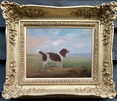 Antique 19th century English Folk Art Spaniel dog portrait in a landscape
