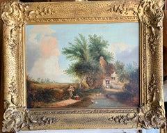 19th century English Folk Art Cottage landscape with figures playing by a pond