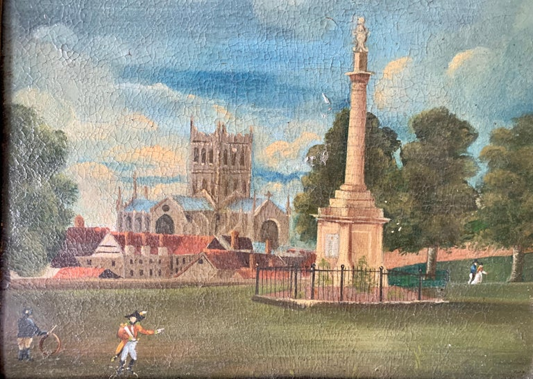 19th century English folk art, Town scene with soldier my a monument and church - Painting by 19th Century English Folk Art School