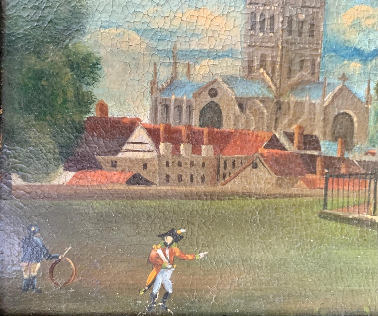 19th century English folk art, Town scene with soldier my a monument and church - Folk Art Painting by 19th Century English Folk Art School