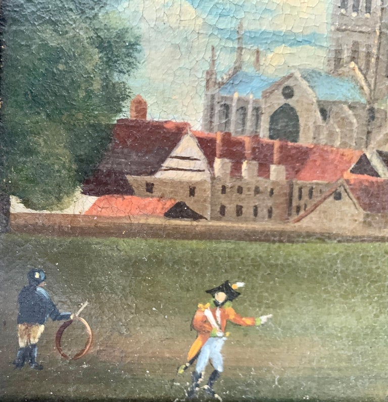19th century English folk art, Town scene with soldier my a monument and church - Gray Landscape Painting by 19th Century English Folk Art School