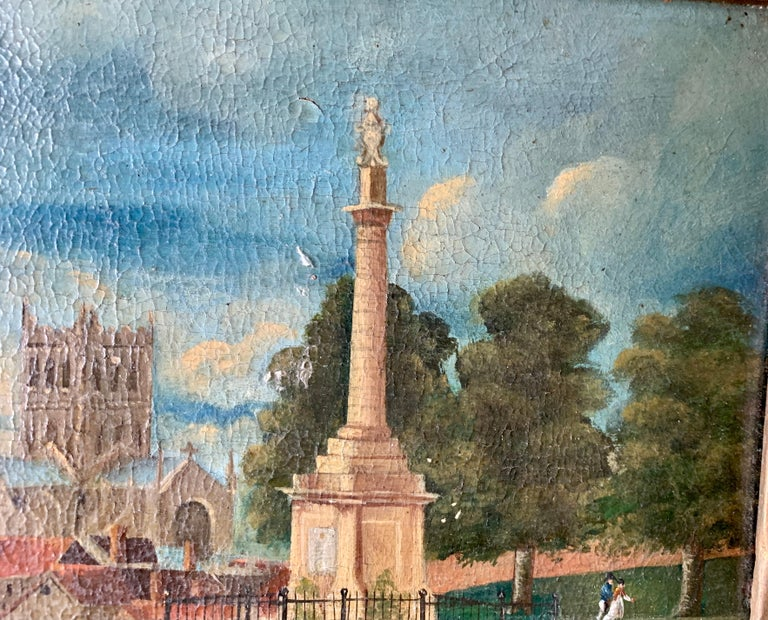 19th century English folk art, Town scene with soldier my a monument and church For Sale 1