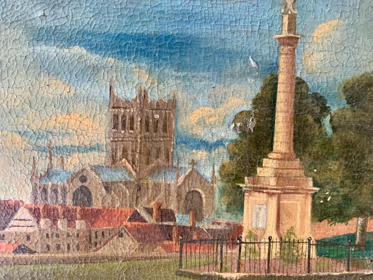 19th century English folk art, Town scene with soldier my a monument and church For Sale 2