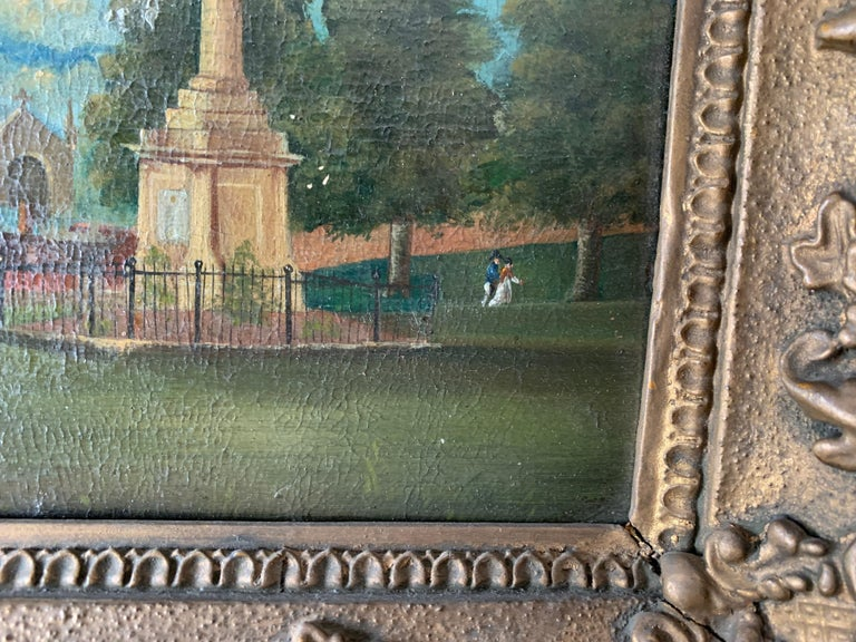 19th century English folk art, Town scene with soldier my a monument and church For Sale 3