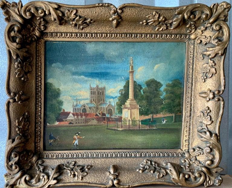 19th Century English Folk Art School Landscape Painting - 19th century English folk art, Town scene with soldier my a monument and church