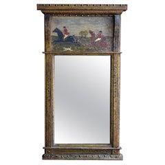 19th Century English Folk Art Trumeau Style Mirror