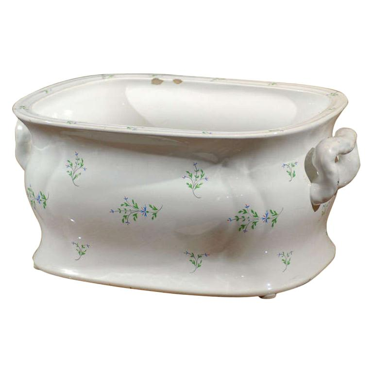 19th Century English Sprigware Porcelain Foot Bath, Unmarked
