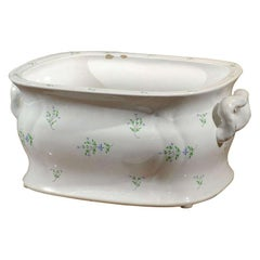 19th Century English Sprigware Porcelain Foot Bath, Unmarked