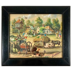 19th Century English Framed Decalomania Découpage & Watercolor Farm Art Picture