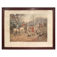 19th Century English Framed Hand Painted Watercolor Hunt Scene 'The Brush'