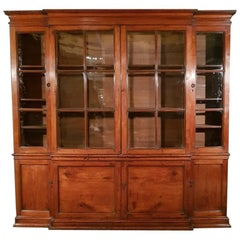 19th Century English Fruitwood Breakfront Bookcase